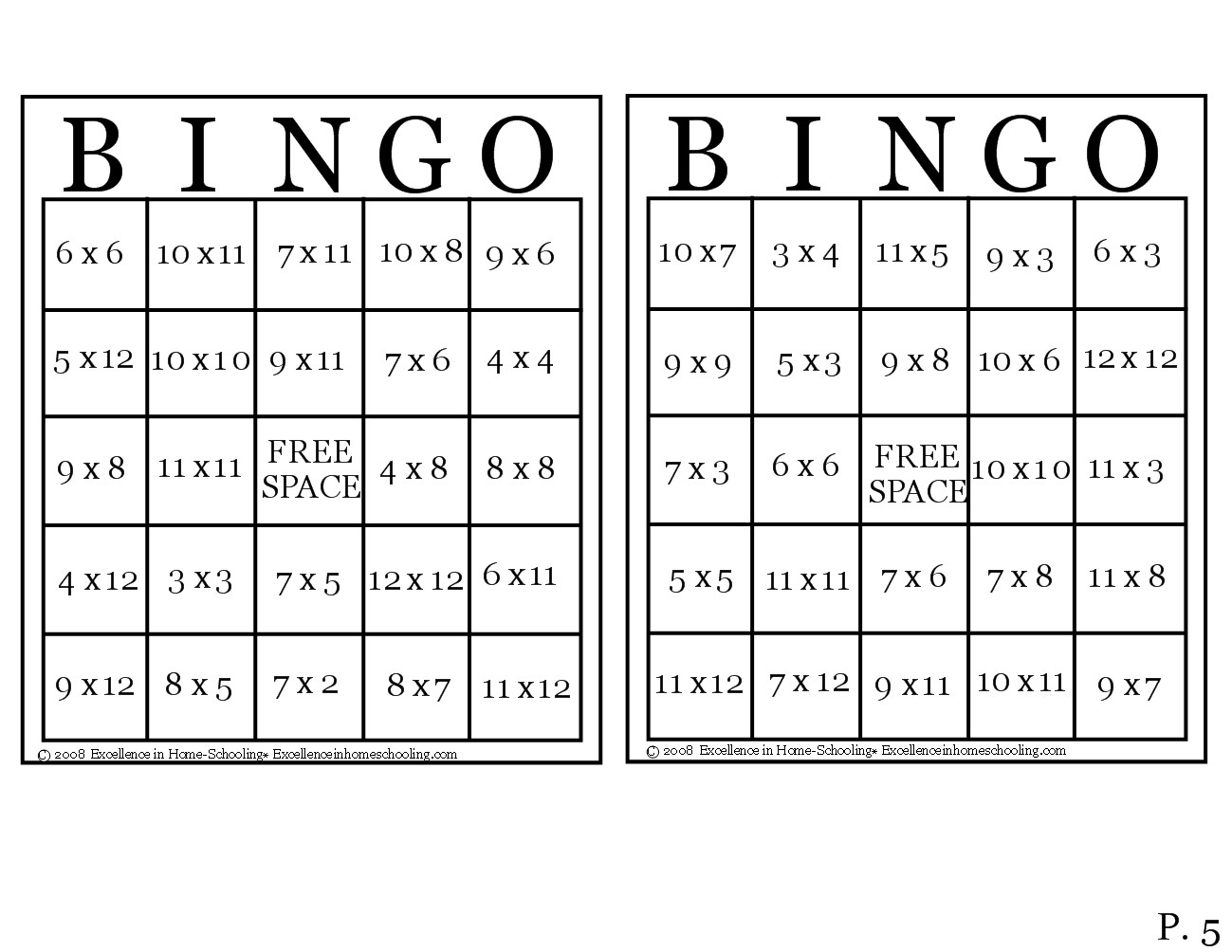 laura's frayed knot: times table bingo