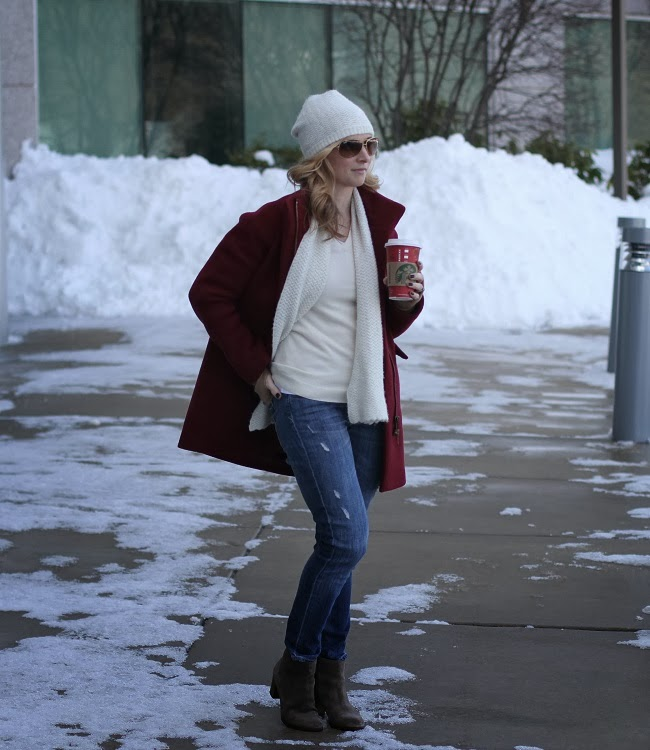 jcrew, vince, julie vos, uniqlo, club monaco, winter style, burgundy coat