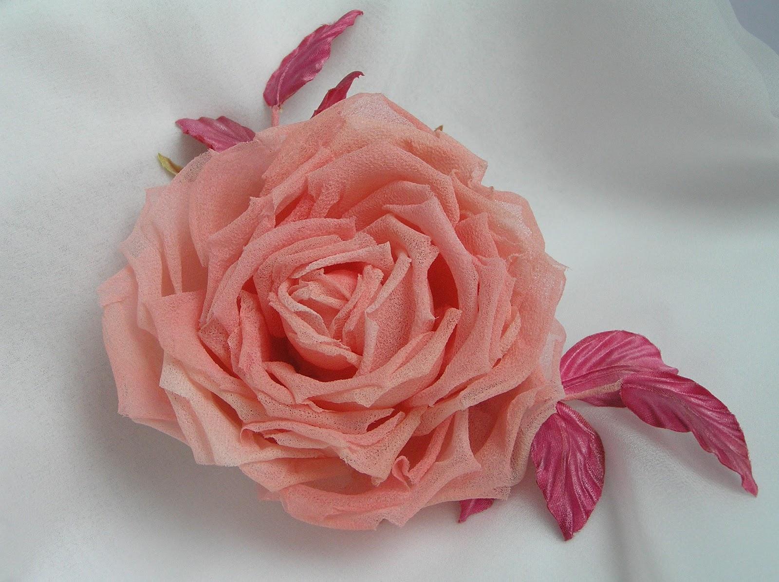 Розы из шёлковых лент своими руками