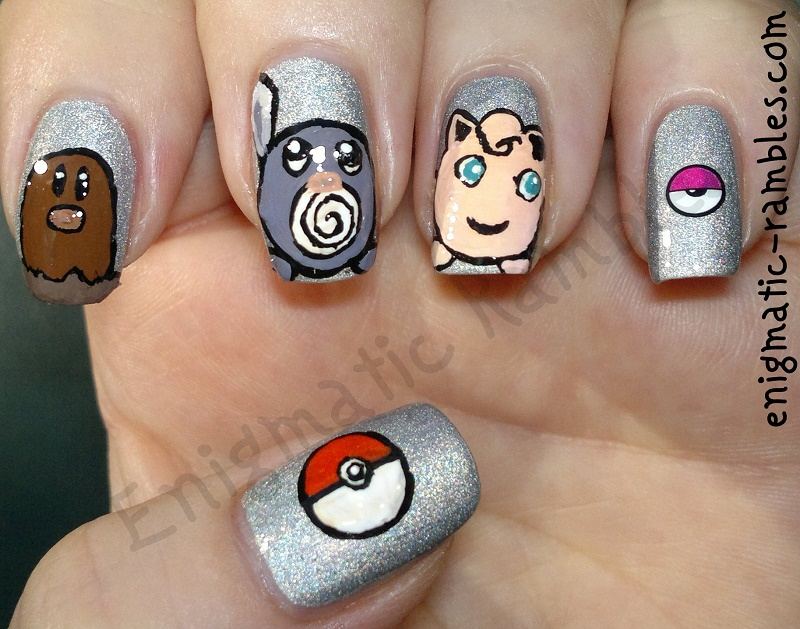 Pokemon-Nails-Poliwag-Jigglypuff-Diglett-Pokeball-a-england-encore-margot-freehand-nail-art-nails