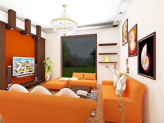 Conceptions de salon avec des motifs oranges d cor de for Conseption de salon