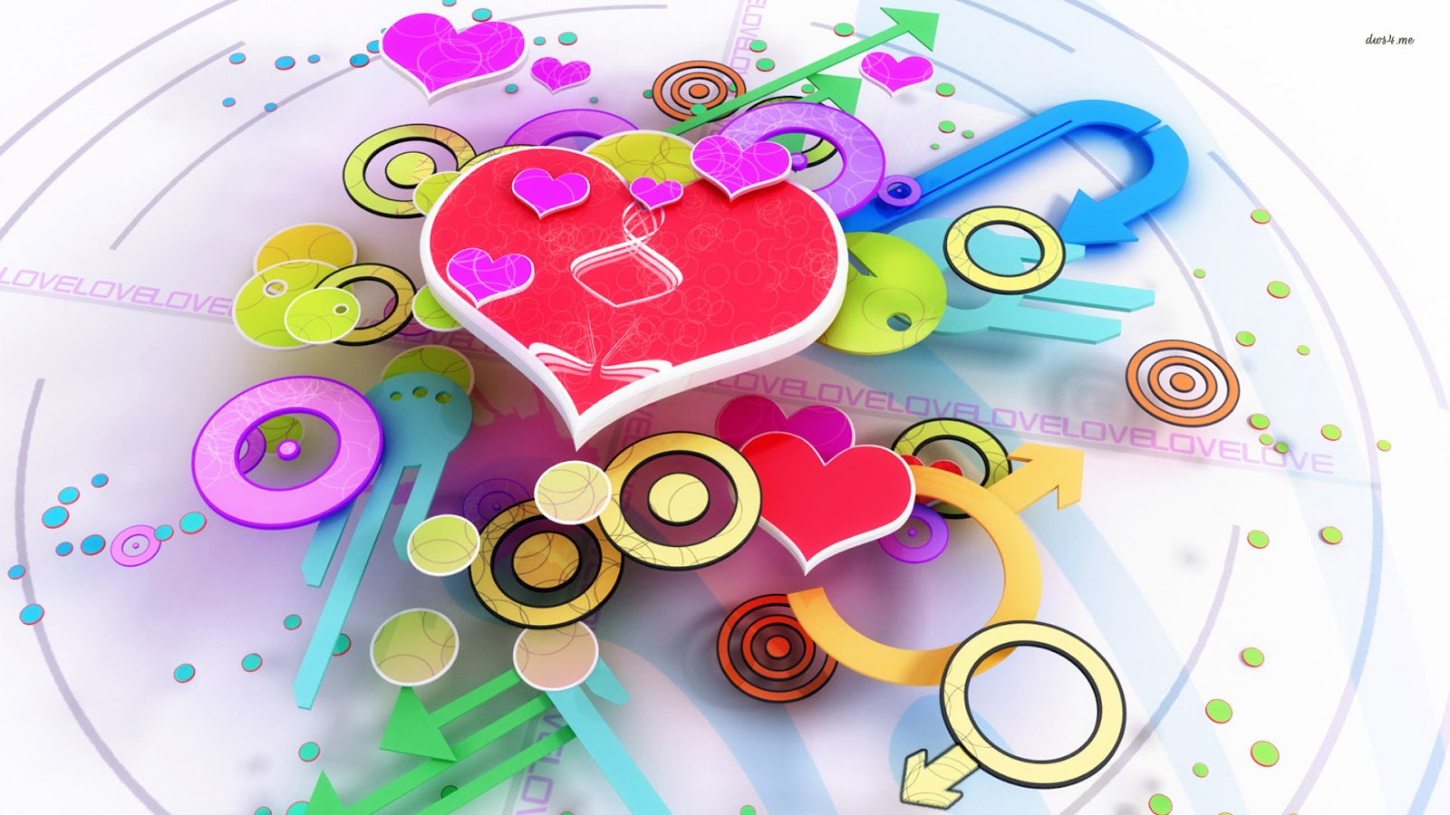 colorful-hearts-and-shapes-3d-wallpaper | Free Download Full HD