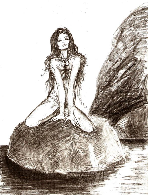 La Matita Autodidatta Sirena Sugli Scogli
