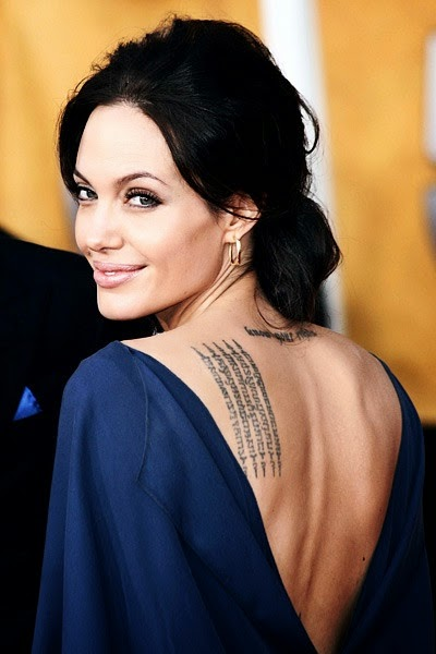 "♥•▬▬▬▬▬▬▬ ღೋƸ̵̡Ӝ̵̨̄Ʒღೋ▬▬▬▬▬▬▬♥• Angelina Jolie tattoos: ""know your rights"" ♥  ♫ ♥ & This is a Buddhist Pali incantation written in Khmer script, the language of Cambodia. It's there to protect her and her son Maddox from bad luck. Translation: ""May your enemies run far away from you. If you acquire riches, may they remain yours always. Your beauty will be that of Apsara. Wherever you may go, many will attend, serve and protect you, surrounding you on all sides""."