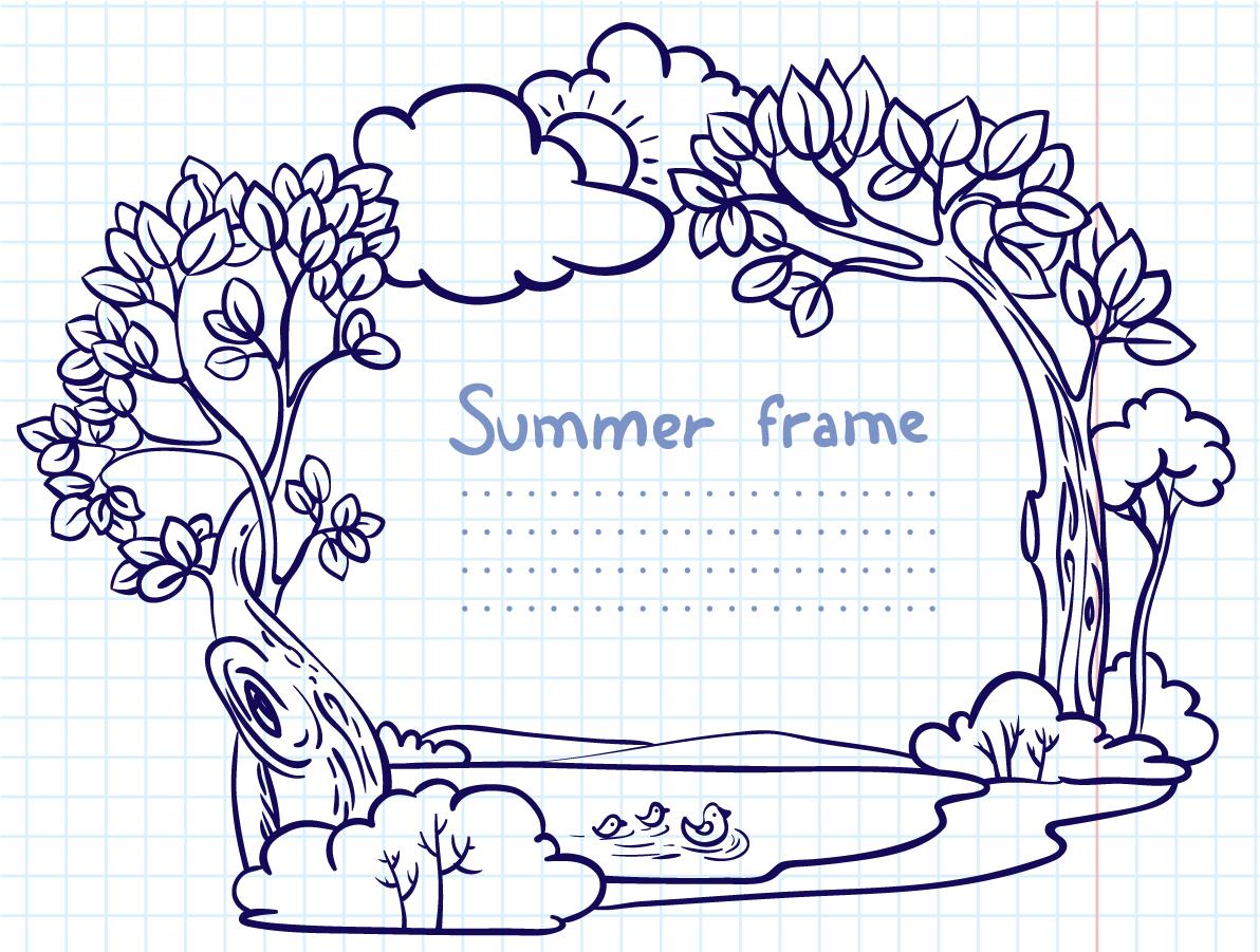bezierinfoベジェインフォ: 手書きで森の景色を描いたフレーム