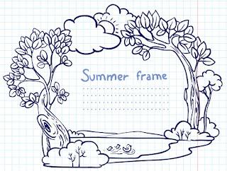 手書きで森の景色を描いたフレーム Handpainted cartoon lace イラスト素材