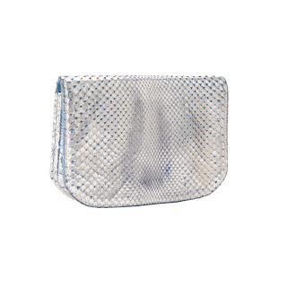Vintage 1960's silver lizard skin YSL clutch with blue lining.