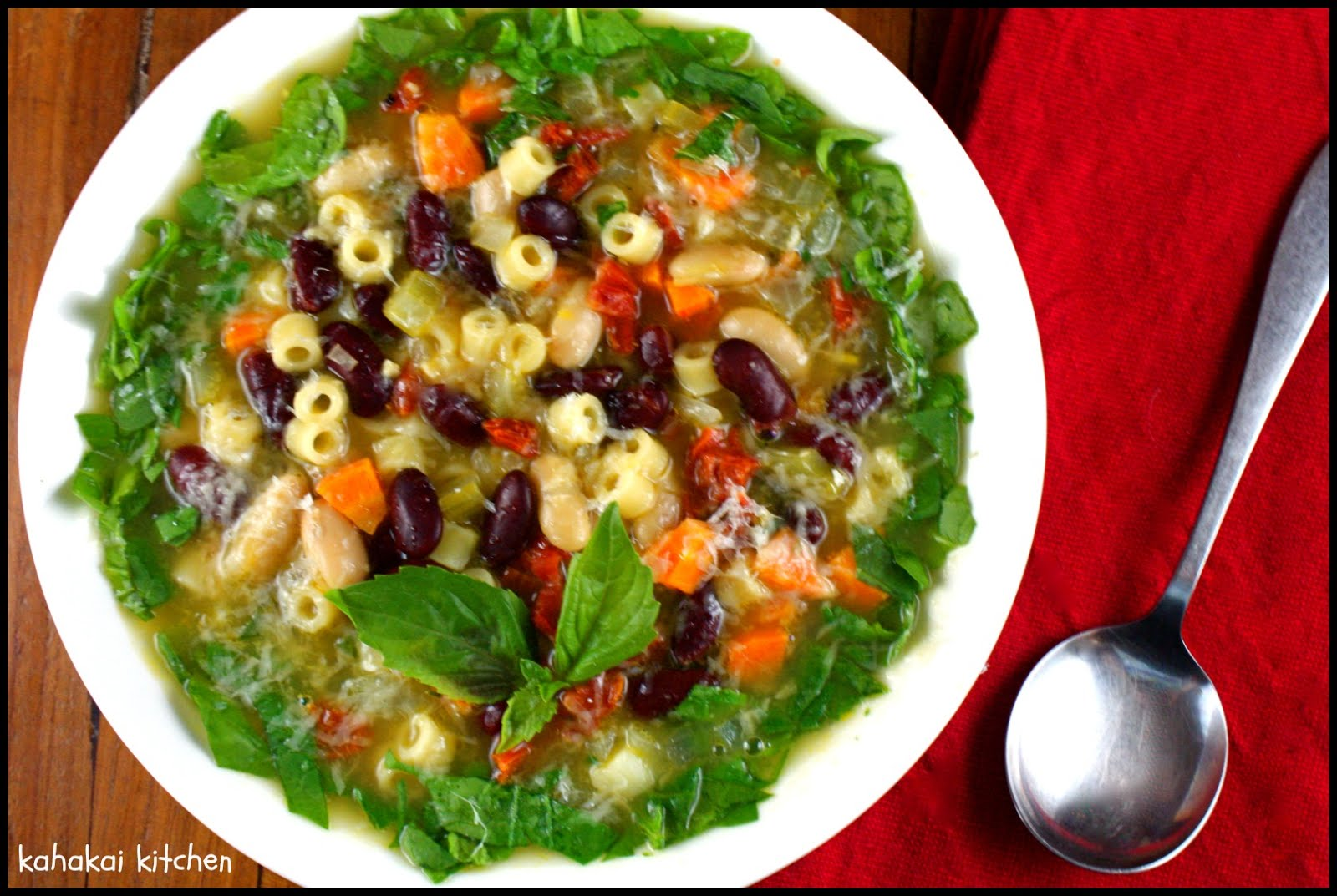 Bean and Pasta Soup (Pasta e Fagioli) with Spinach for Souper (Soup ...