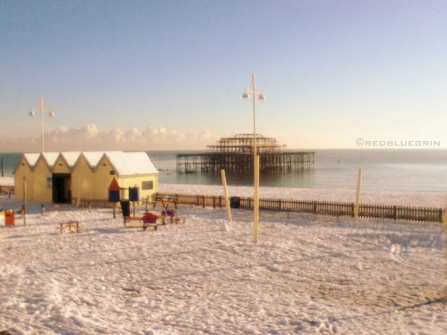 Brighton beach becomes all white after snowfall, Brighton, UK