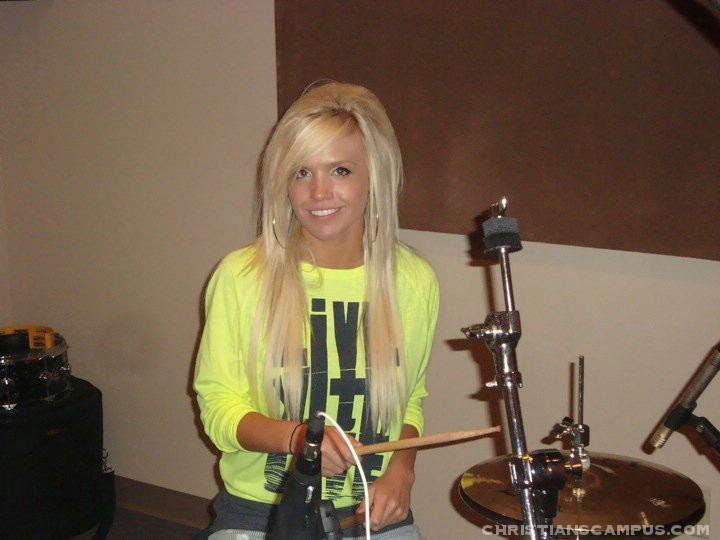 cortni playing drums