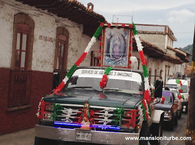 Caravans of Cars in Pátzcuaro celebrating the Virgin of Guadalupe