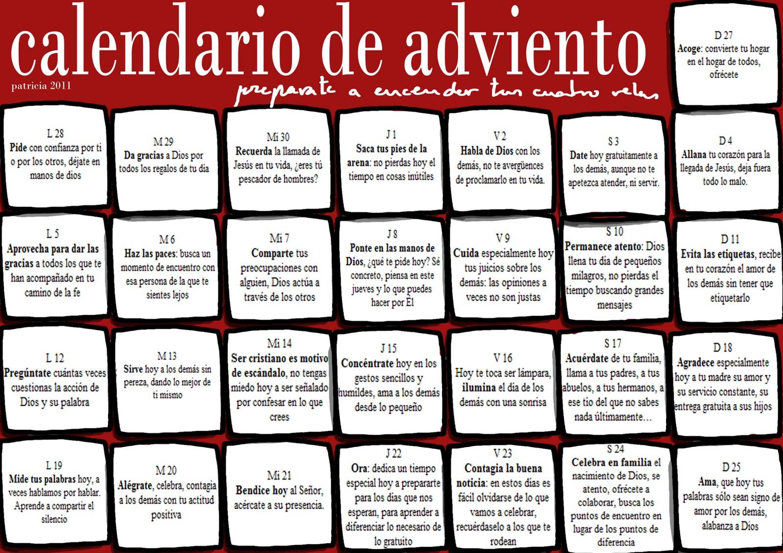 Sed Valientes Calendario De Adviento 2011 - Calendario-de-adviento