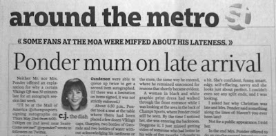 Headline over story reads Ponder mum on late arrival