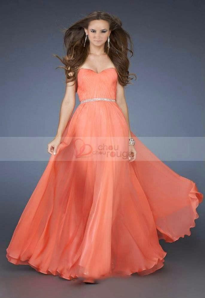 Magnifique robe de soirée bustier en cœur orange Noël
