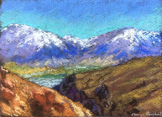 Original soft pastel painting of landscape from Spiti valley by Manju Panchal