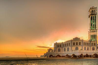 matahari terbit, tanjuang bungah, pulau pinang, masjid terapung