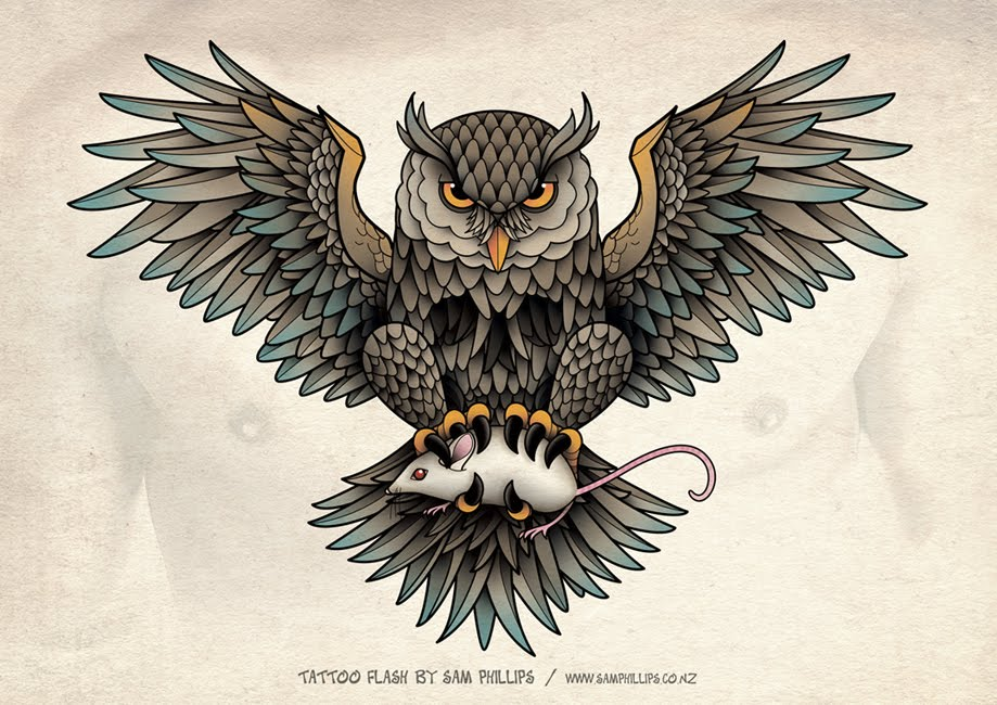designed this owl chest piece tattoo for Gerben Geeraerts. Copyright ...