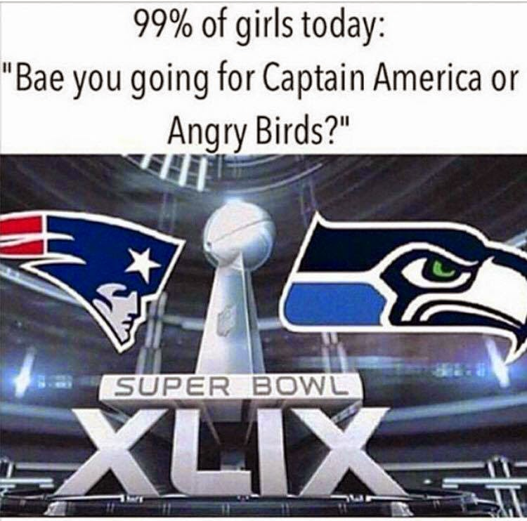 """99% of girls today: """"Bae you going for Captain America or Angry Birds?"""