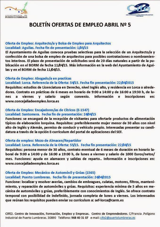 Parados de lorca 31 ofertas de empleo de boletines de abril del ayuntamiento de - Ofertas de trabajo en puerto real ...