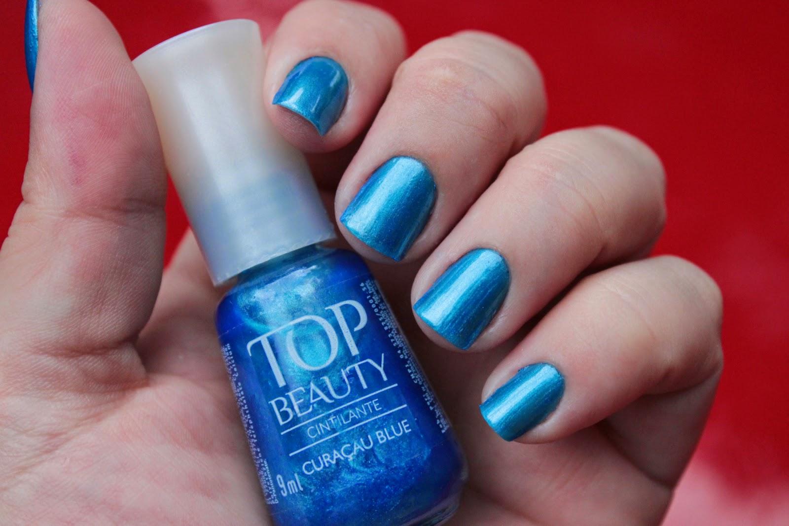 top beauty, curaçau blue, esmalte, cintilante, nailpolish, azul, blue, produtos recebidos, mão feita, fashion mimi, final de semana