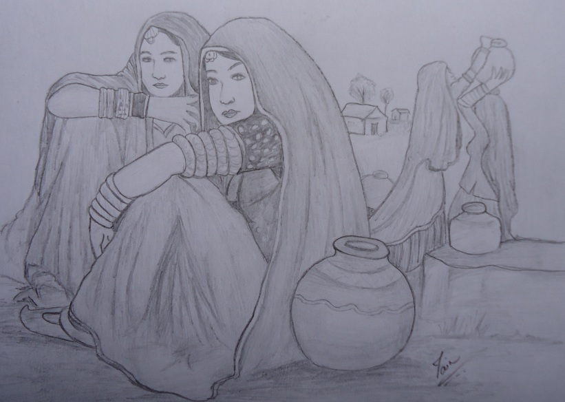 Desi village women sketc