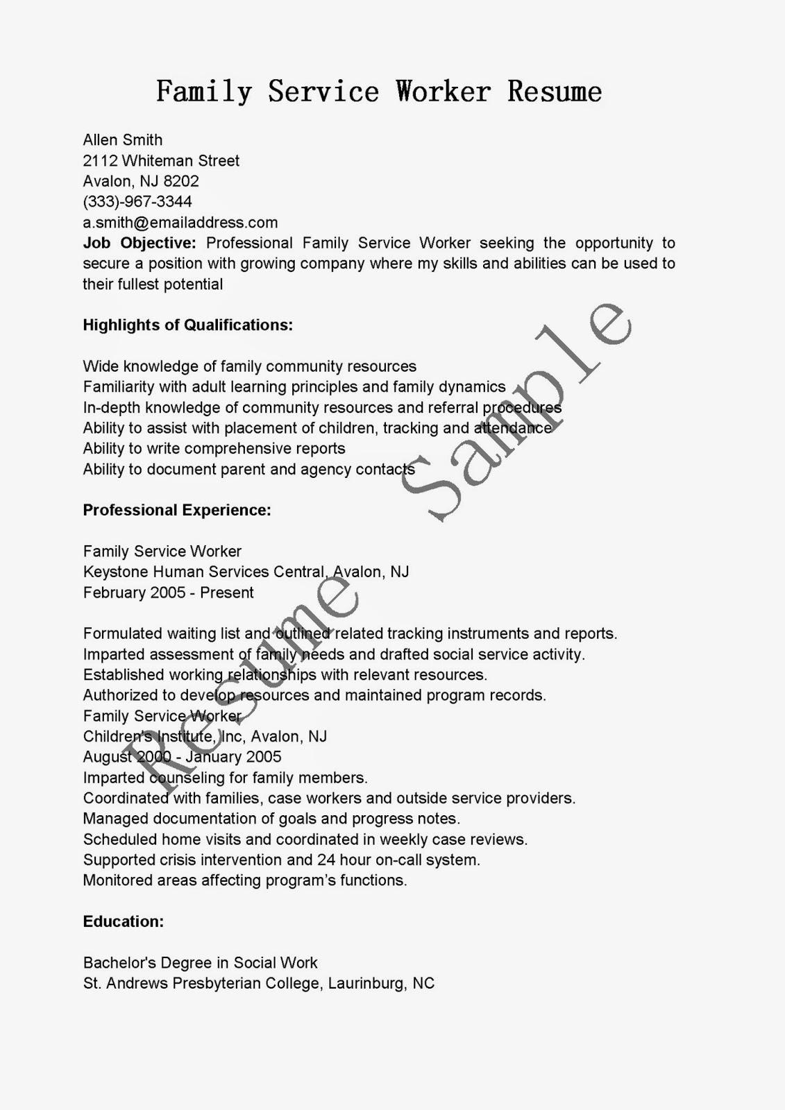 resume samples  family service worker resume sample