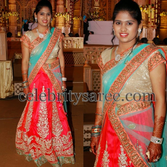 Sequins Work Peach Half Saree
