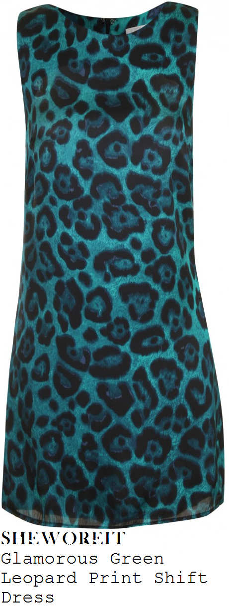 jorgie-porter-emerald-green-turquoise-and-black-leopard-animal-print-sleeveless-shift-dress-anna-shaffer-hollyoaks-party