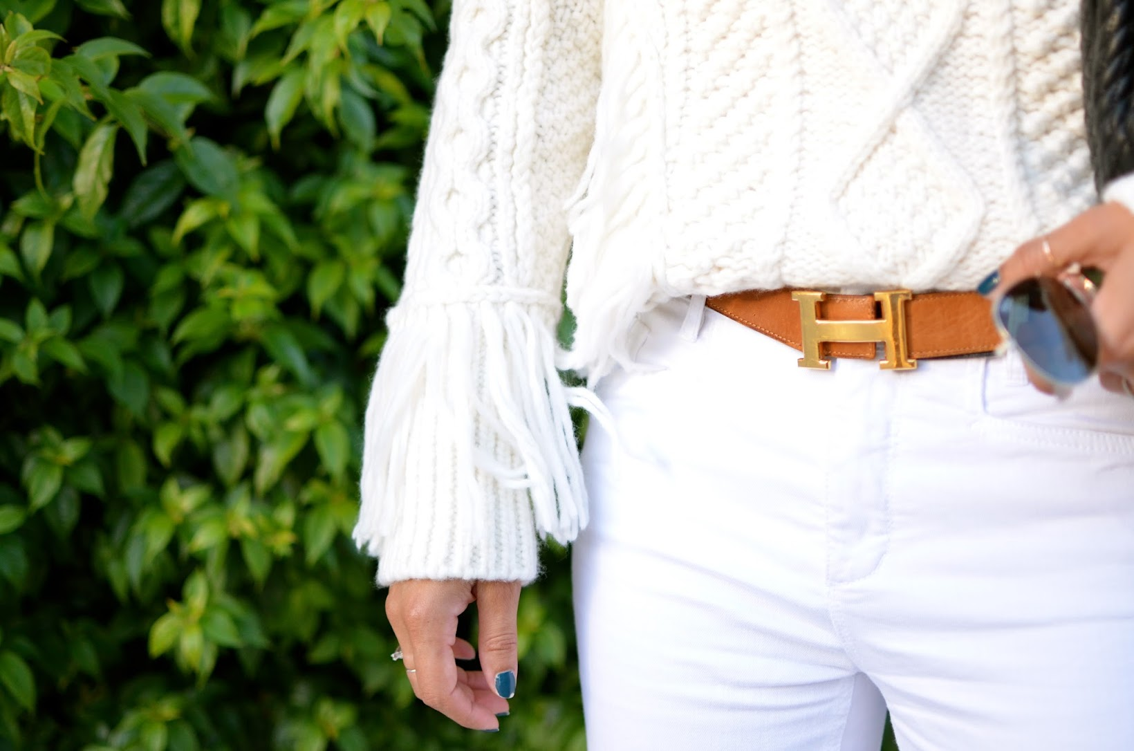 Coach Aran Funnelneck Turtleneck, Coach RTW 2016, Fringe turtleneck, Bally Swiss chain link bag, quilted chain bag, curly to straight hair, all white for fall, white for fall, Ray Ban aviator, J.Jill cropped denim, Coach, Coach Tamara pumps, Coach, chic street style, OOTD
