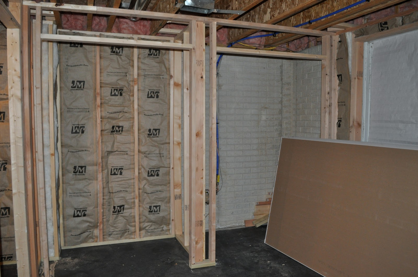 ...standing in the alcove in the bedroom looking into the closets. & Hostetlers: Basement Update: Insulation u0026 Hanging Drywall