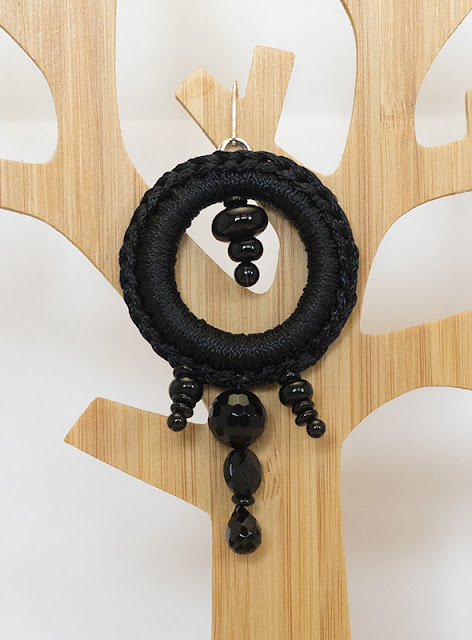 orecchini crochet total black onice, argento