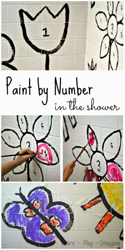 Paint by number in the shower - hands on math activity where the mess doesn't matter since it will wash right off.