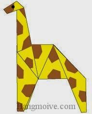 Bước 21: Vẽ mắt, khoang đốm để hoàn thành cách xếp con hươu cao cổ kiểu mới bằng giấy theo phong cách origami.