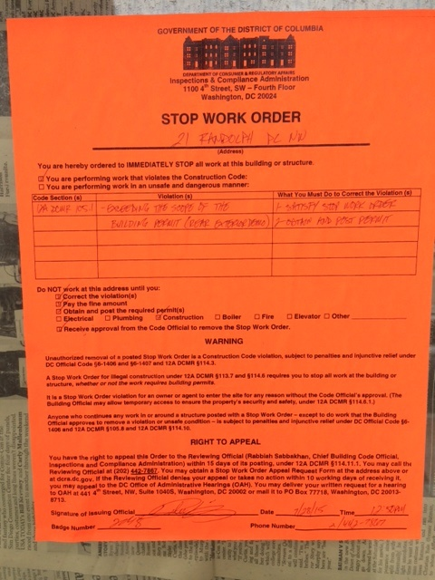 Bloomingdale Stop Work Order Posted At Randolph Place NW - Stop work order template