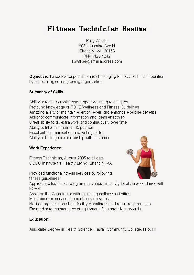 resume samples  fitness technician resume sample