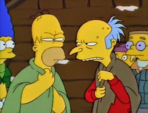 """""""La Montaña de la Locura, Homero y Burns se pelean"""