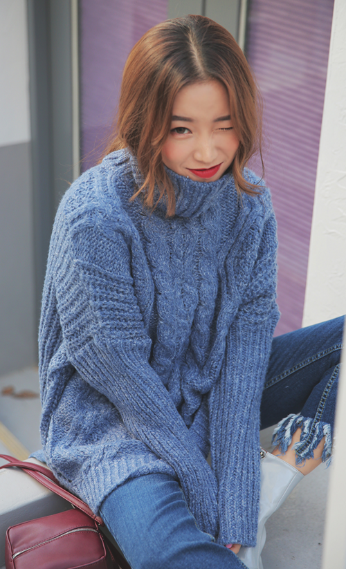 Patterned Hip-Length Sweater
