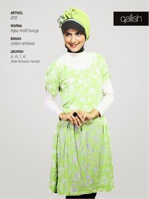 Qallish katun hijau motif bunga 070