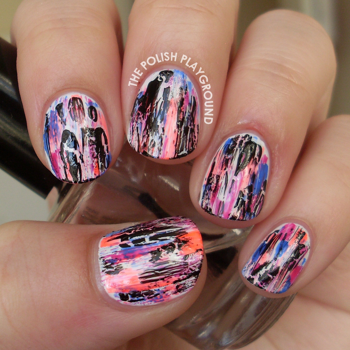 Grungy Neon Distressed Nail Art