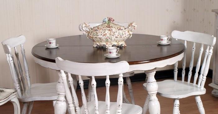 Mobili shabby chic atelier myartistic tavolo tondo allungabile shabby chic con 4 sedie - Dimensioni tavolo tondo 4 persone ...