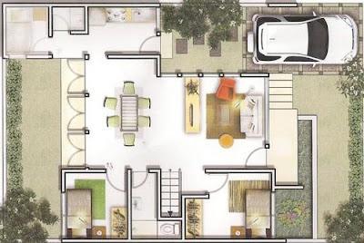 Contoh Gambar Denah Rumah Minimalis 1 Lantai