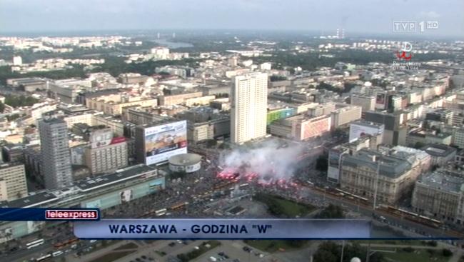Godzina W w centrum Warszawy 1 sierpnia 2014 r. - źródło TVP1