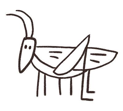 キリギリスのイラスト(虫) モノクロ線画
