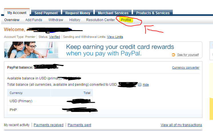 paypal how to add money from bank account