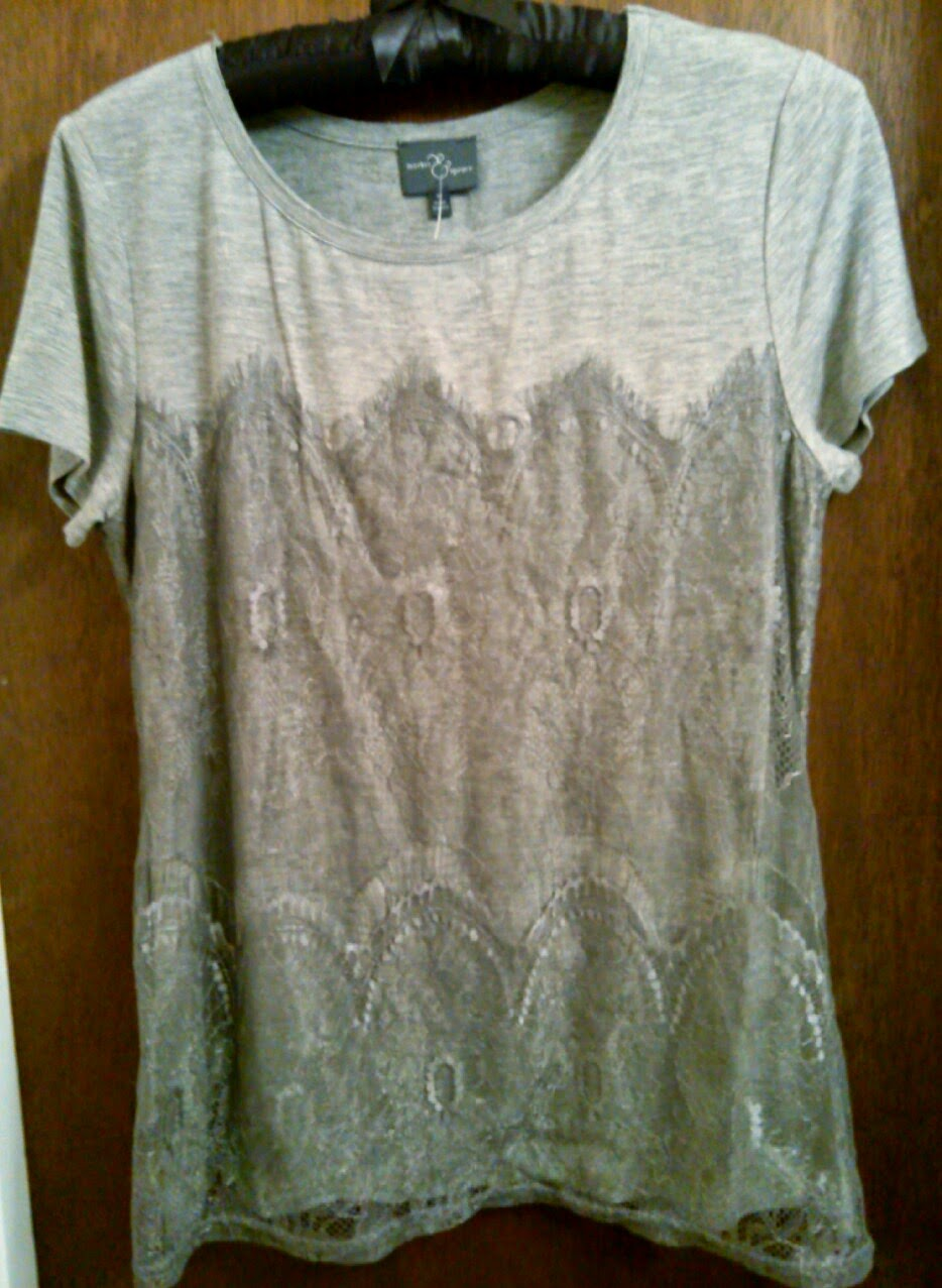 Market and Spruce Memphis Lace Overlay Knit Shirt in Grey