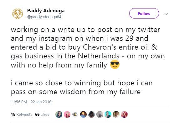 Image result for paddy adenuga tweet
