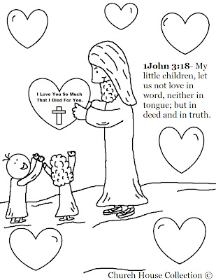 """""""Jesus With Heart"""" Valentine's Day Coloring Page"""