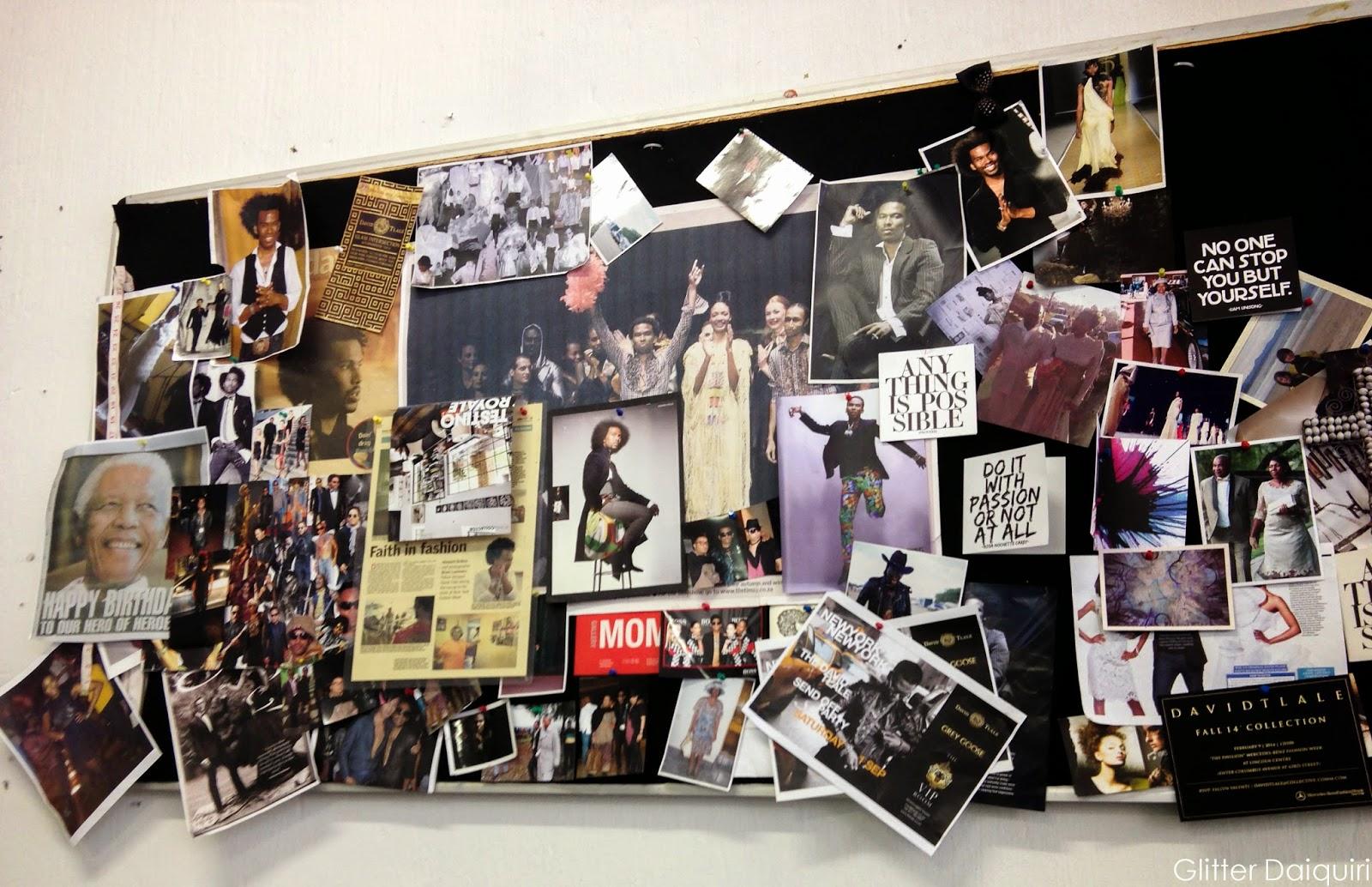 david tlale's moodboard in his studio