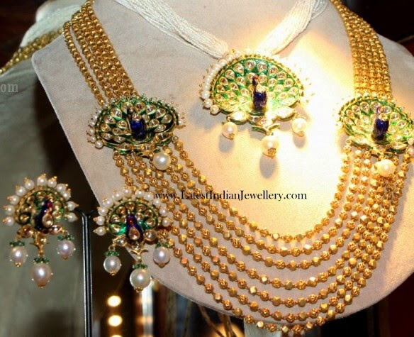 Peacock Motifs Gold Jewellery Set