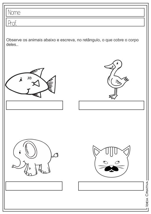 Atividades Educativas Ciências Característica dos Animais Letra Inicial para Ensino Fundamental